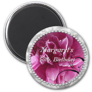 Save the Date with Pearls and Pink Floral Design 6 Cm Round Magnet