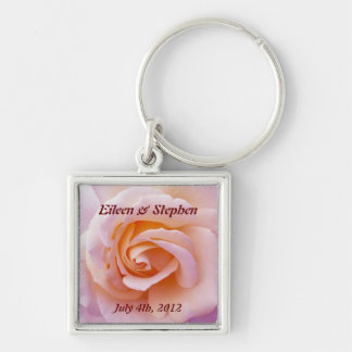 Save the date with Pink and Peach Garden Rose Key Ring