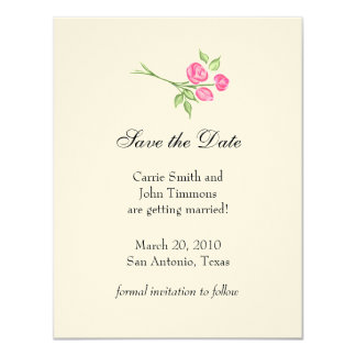 Save the Date with Three Pink Roses Custom Invite