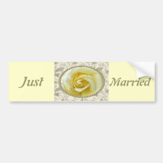Save the date with Yellow Rose, Pearls & Satin Bumper Sticker
