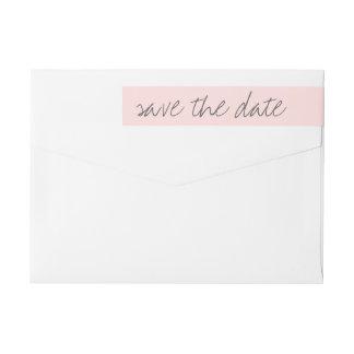 Save the date wraparound address label, blush pink wraparound return address label