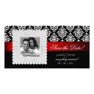 Save the Date Xmas Black White Red Jewels Photo Card