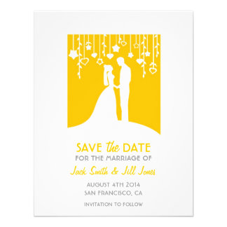 Save the date - yellow bride and groom silhouettes personalized invitation