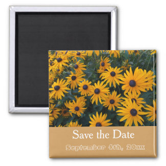 save the date, yellow daisy flowers square magnet