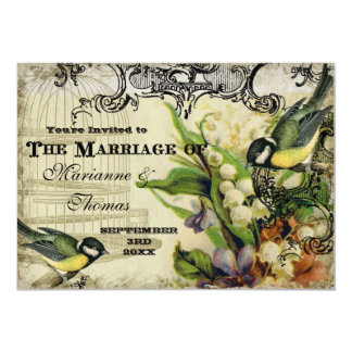 Save the Date, Yellow Song Bird Cage Swirl Floral Card