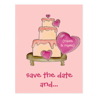 Save the Date & Yummy Cake Postcard