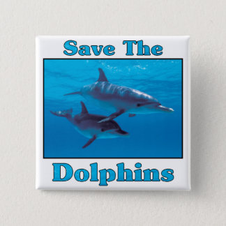 Save the Dolphins 15 Cm Square Badge