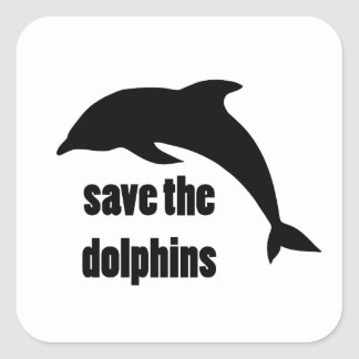Save the Dolphins Square Stickers