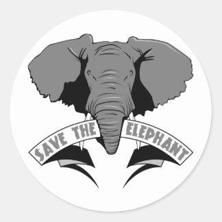 Save The Elephant Classic Round Sticker