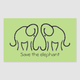 Save The Elephant Custom Slogan Graphic Elephants Rectangular Sticker