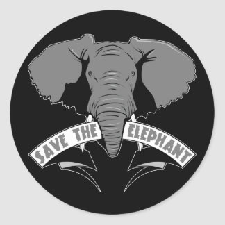 Save The Elephant Round Sticker
