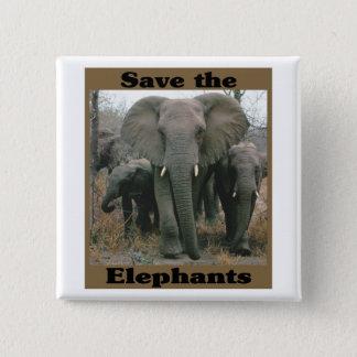 Save the Elephants 15 Cm Square Badge