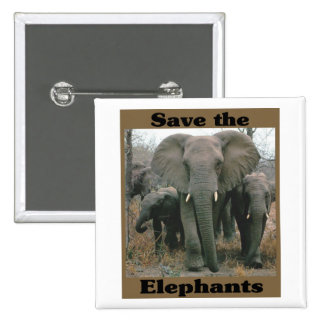 Save the Elephants 15 Cm Square Badge