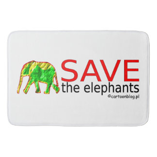 save the elephants bath mats