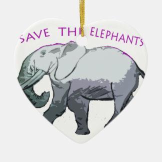 Save the Elephants! Christmas Ornament