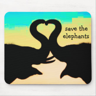 Save the Elephants heart trunks Mouse Pads