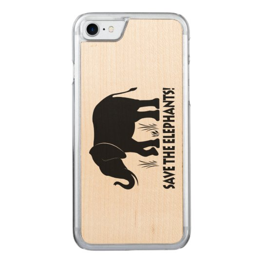 Save the Elephants in Silhouette Carved iPhone 8/7 Case