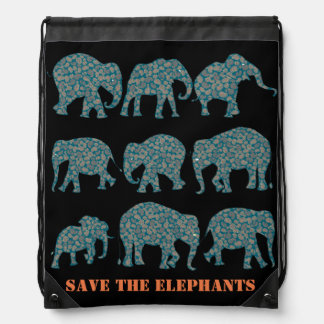 Save the Elephants Paisley on Black Backpack