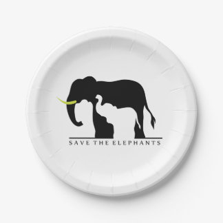 Save the Elephants Paper Plate