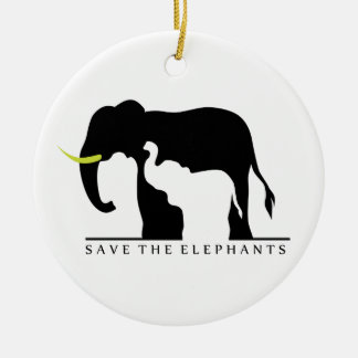 Save the Elephants Round Ceramic Decoration