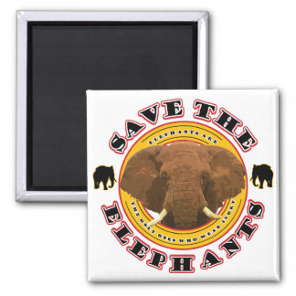 Save the Elephants Square Magnet