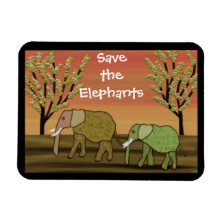 Save the Elephants Sunset  Premium Magnet