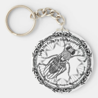 Save the fruit fly basic round button key ring