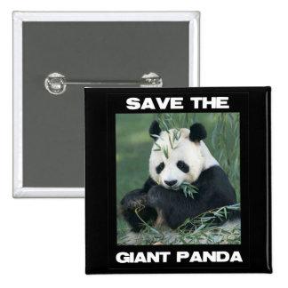Save the Giant Panda 15 Cm Square Badge
