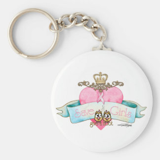 Save the Girls - Give a Hoot Basic Round Button Key Ring