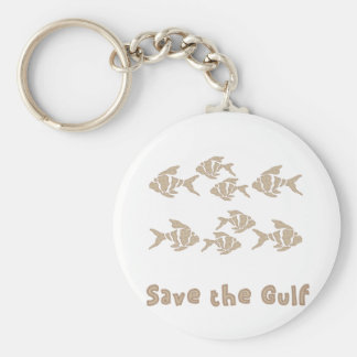 Save The Gulf - Brown School of Fish Basic Round Button Key Ring