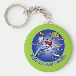 Save the Gulf Wildlife Tshirts Basic Round Button Key Ring