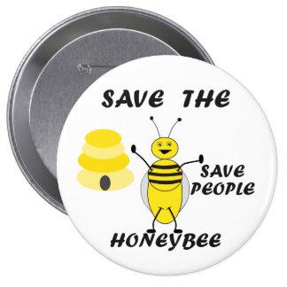 Save the Honeybee Button Pin