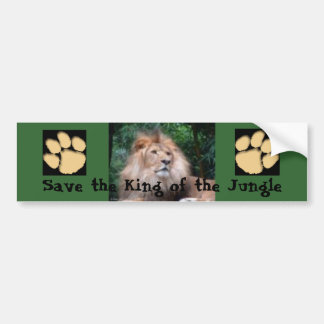 Save The King Of The Jungle (Green) Bumper Sticker