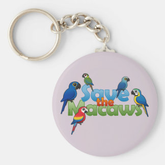 Save the Macaws Basic Round Button Key Ring