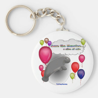 Save the Manatee.. a slice of cake Basic Round Button Key Ring