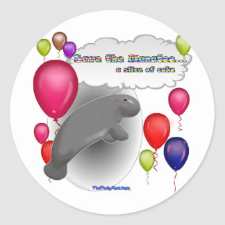 Save the Manatee.. a slice of cake Round Sticker