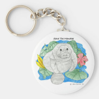 Save The Manatee Basic Round Button Key Ring