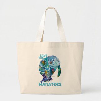 Save The Manatee Large Tote Bag