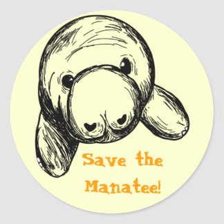 Save the Manatee! Round Sticker