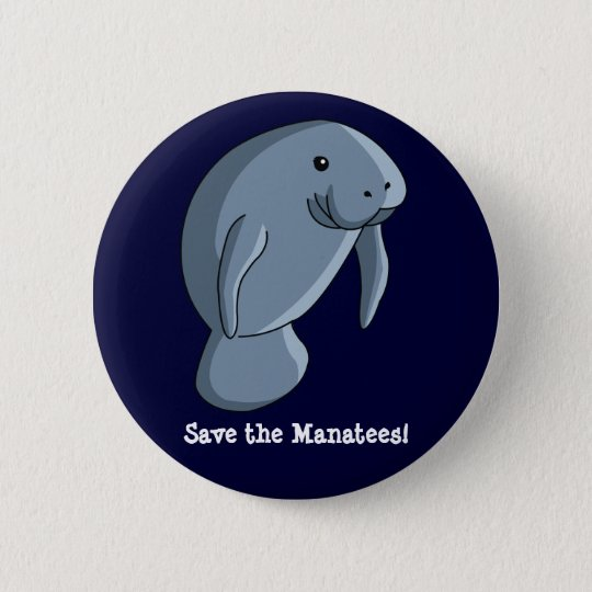 Save the Manatees! 6 Cm Round Badge