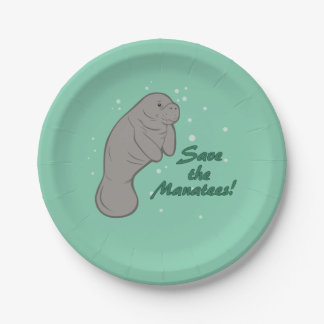 Save the Manatees! 7 Inch Paper Plate