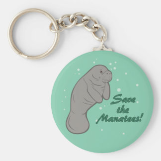 Save the Manatees! Basic Round Button Key Ring