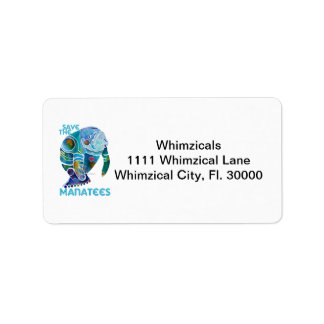 Save the Manatees Blue Address Label
