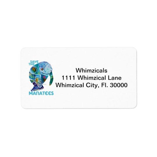 Save the Manatees Blue Address Label