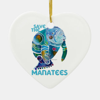 Save the Manatees Blue Heart Ornament