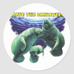 Save the Manatees Classic Round Sticker
