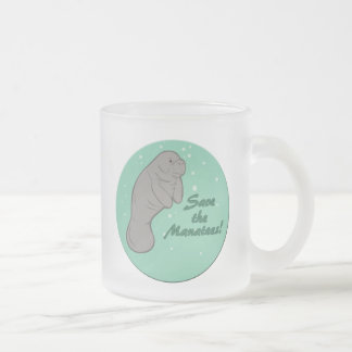 Save the Manatees! Frosted Glass Mug