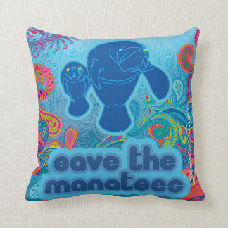 Save the Manatees Pillow Throw Cushions
