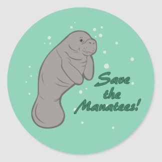 Save the Manatees! Round Sticker