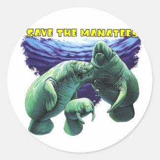 Save the Manatees Round Sticker